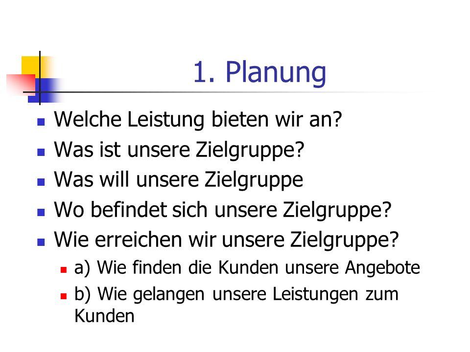 1. Planung Welche Leistung bieten wir an Was ist unsere Zielgruppe