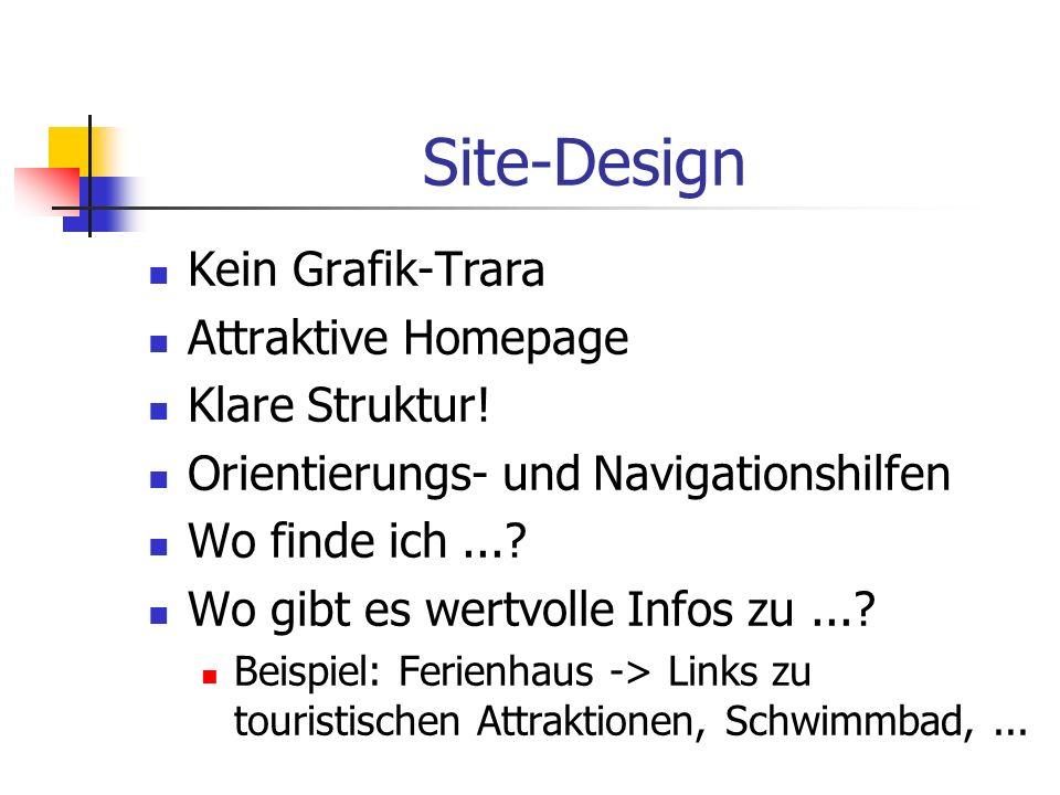 Site-Design Kein Grafik-Trara Attraktive Homepage Klare Struktur!
