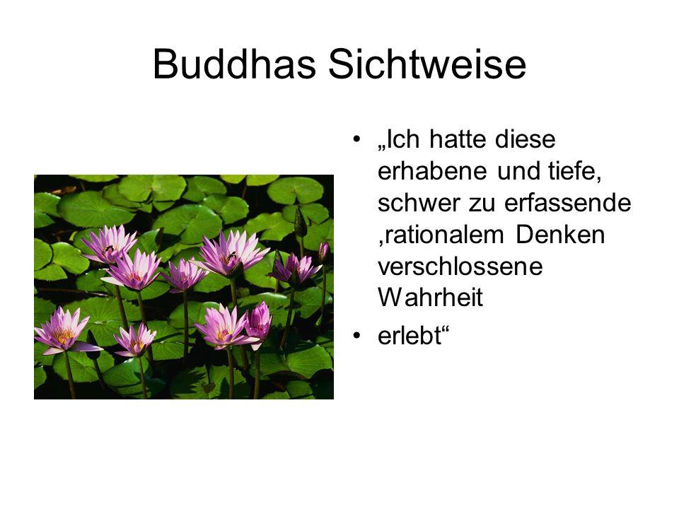 """Buddhas Sichtweise""""Ich hatte diese erhabene und tiefe, schwer zu erfassende ,rationalem Denken verschlossene Wahrheit."""