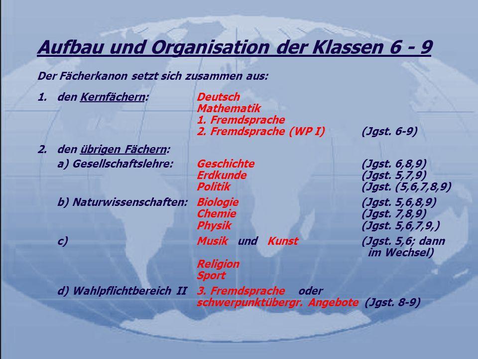 Aufbau und Organisation der Klassen 6 - 9