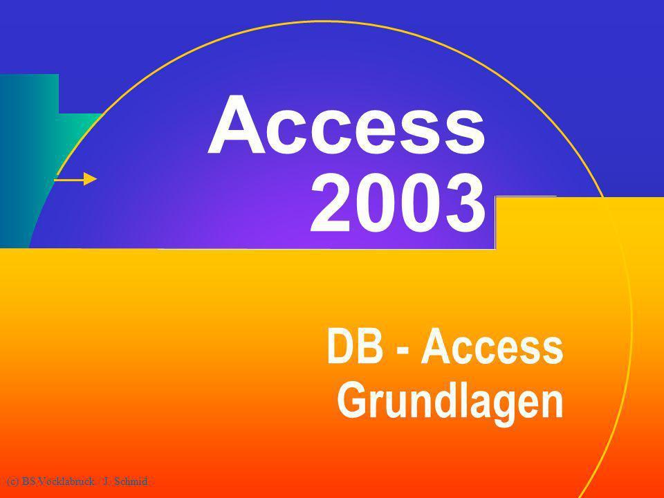 Access 2003 DB - Access Grundlagen (c) BS Vöcklabruck / J. Schmid