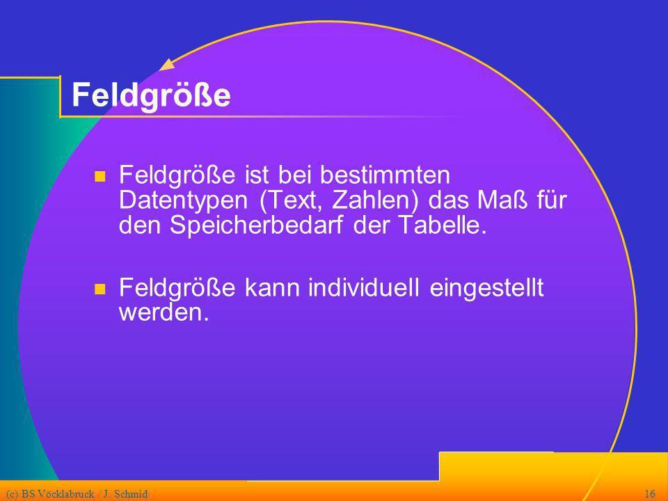 Feldgröße Feldgröße ist bei bestimmten Datentypen (Text, Zahlen) das Maß für den Speicherbedarf der Tabelle.