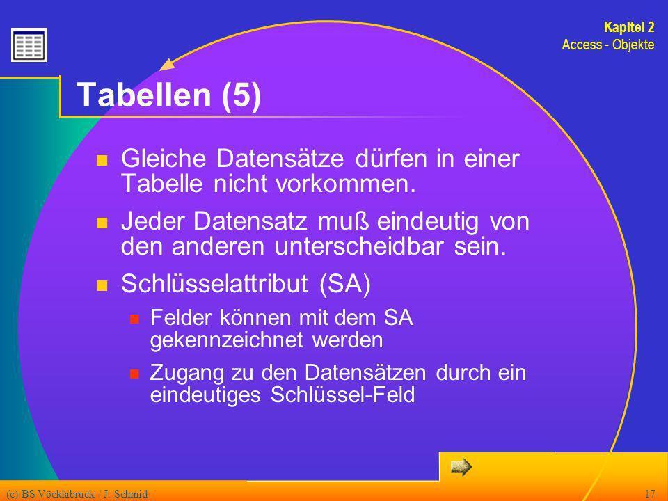 Kapitel 2 Access - Objekte. Tabellen (5) Gleiche Datensätze dürfen in einer Tabelle nicht vorkommen.