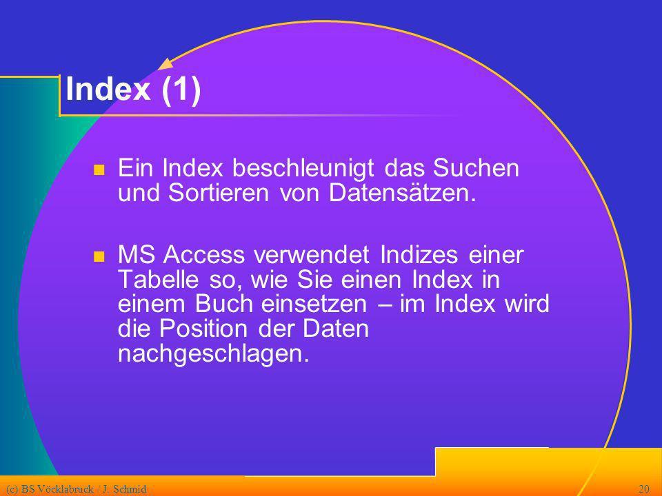 Index (1) Ein Index beschleunigt das Suchen und Sortieren von Datensätzen.