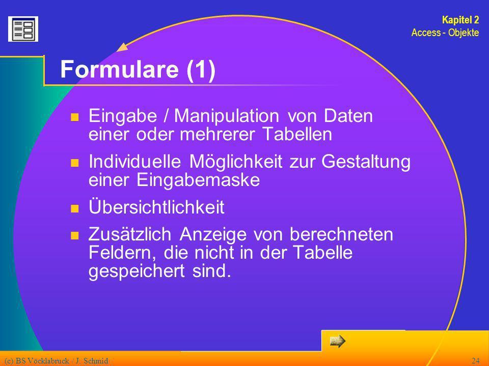 Kapitel 2Access - Objekte. Formulare (1) Eingabe / Manipulation von Daten einer oder mehrerer Tabellen.