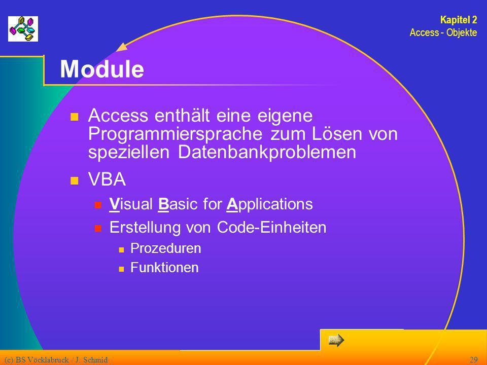 Kapitel 2 Access - Objekte. Module. Access enthält eine eigene Programmiersprache zum Lösen von speziellen Datenbankproblemen.