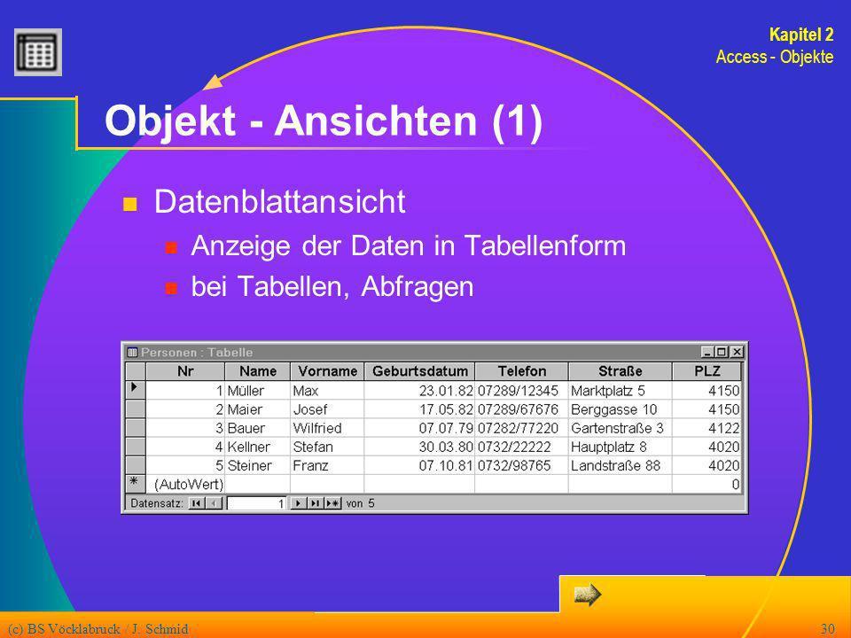 Objekt - Ansichten (1) Datenblattansicht