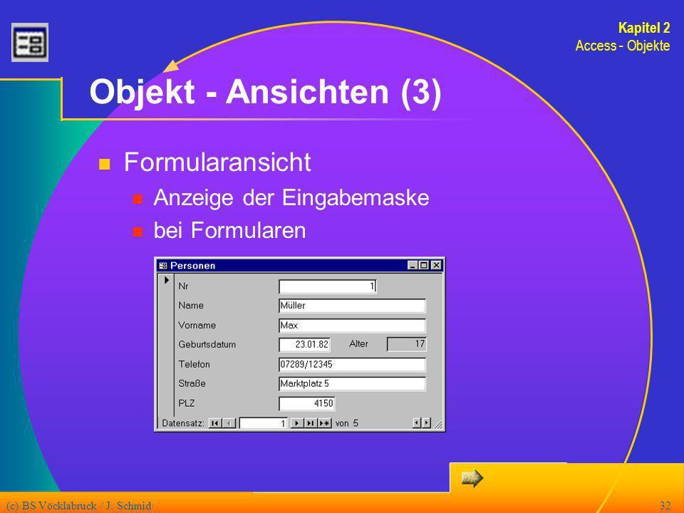 Objekt - Ansichten (3) Formularansicht Anzeige der Eingabemaske