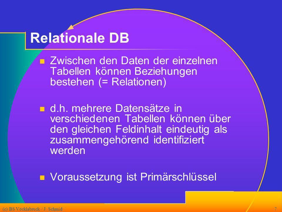 Relationale DB Zwischen den Daten der einzelnen Tabellen können Beziehungen bestehen (= Relationen)