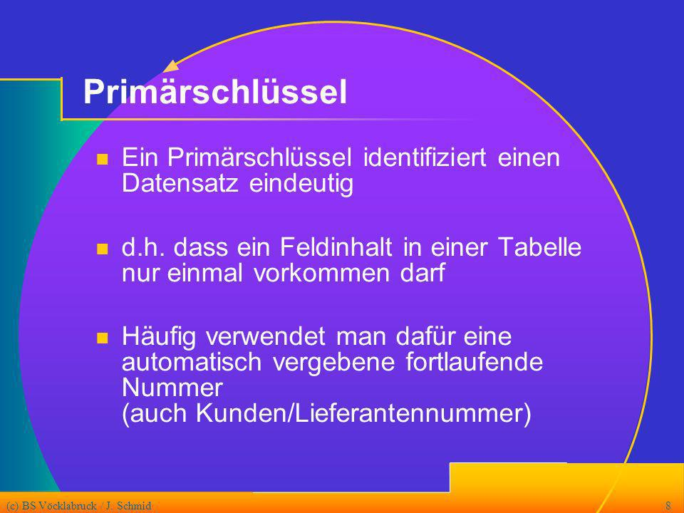 Primärschlüssel Ein Primärschlüssel identifiziert einen Datensatz eindeutig. d.h. dass ein Feldinhalt in einer Tabelle nur einmal vorkommen darf.