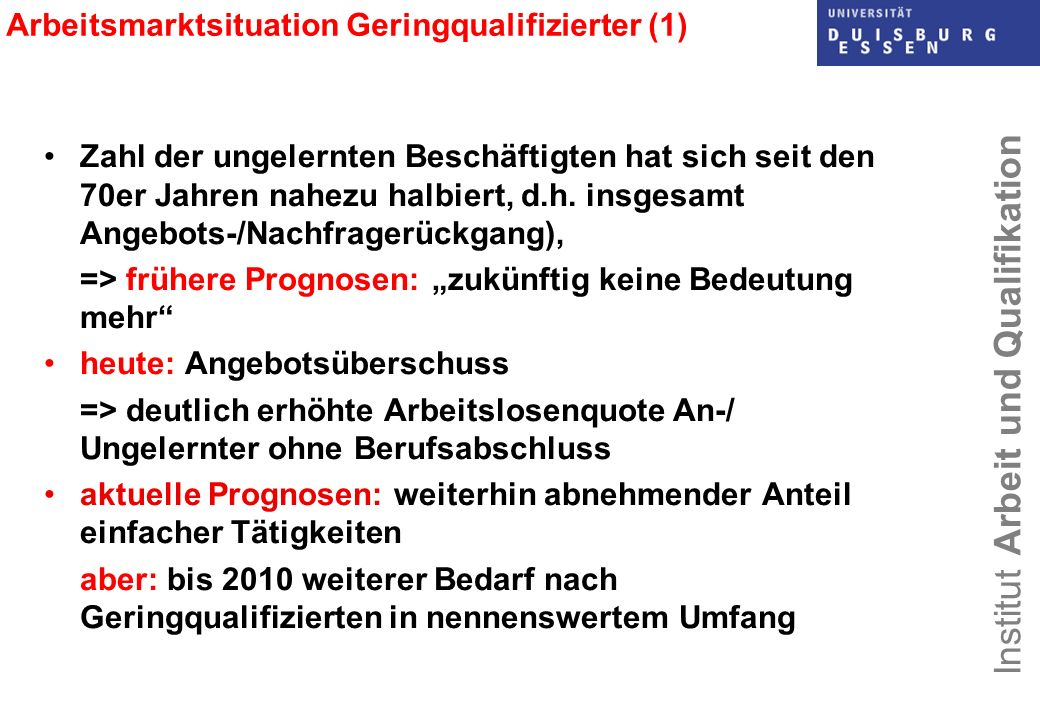 Arbeitsmarktsituation Geringqualifizierter (1)