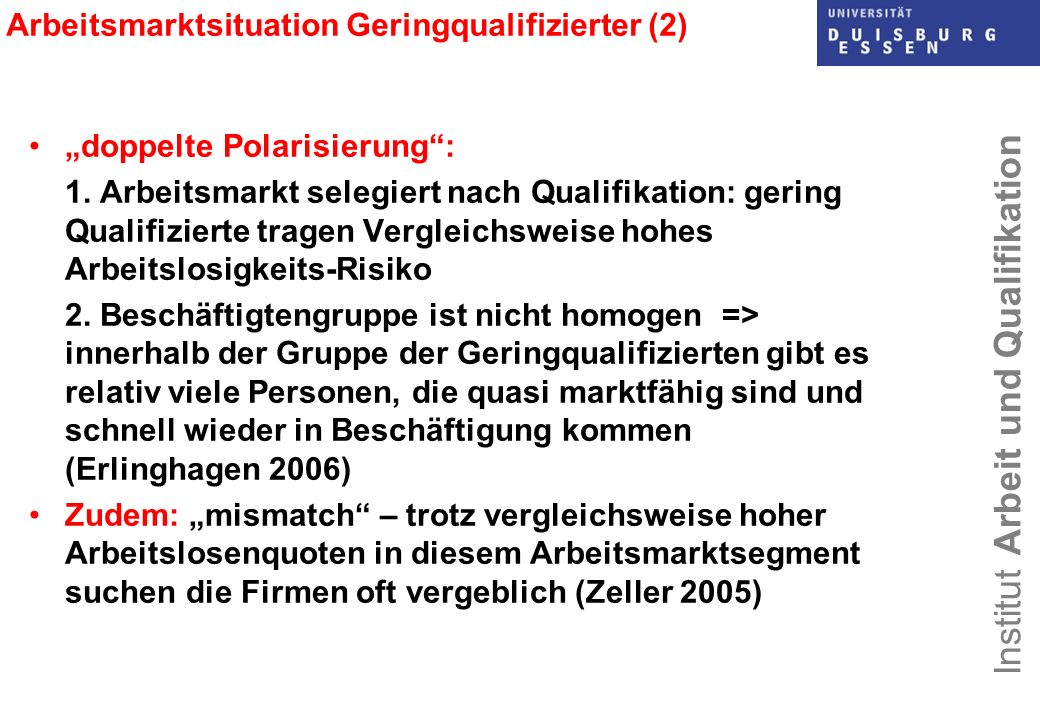 Arbeitsmarktsituation Geringqualifizierter (2)