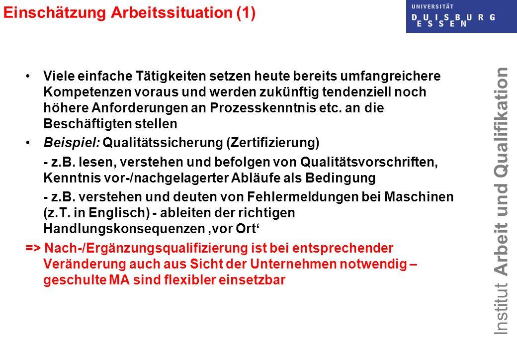 Einschätzung Arbeitssituation (1)