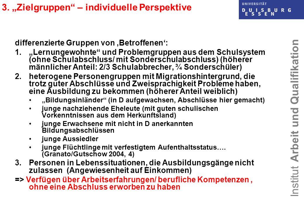 """3. """"Zielgruppen – individuelle Perspektive"""