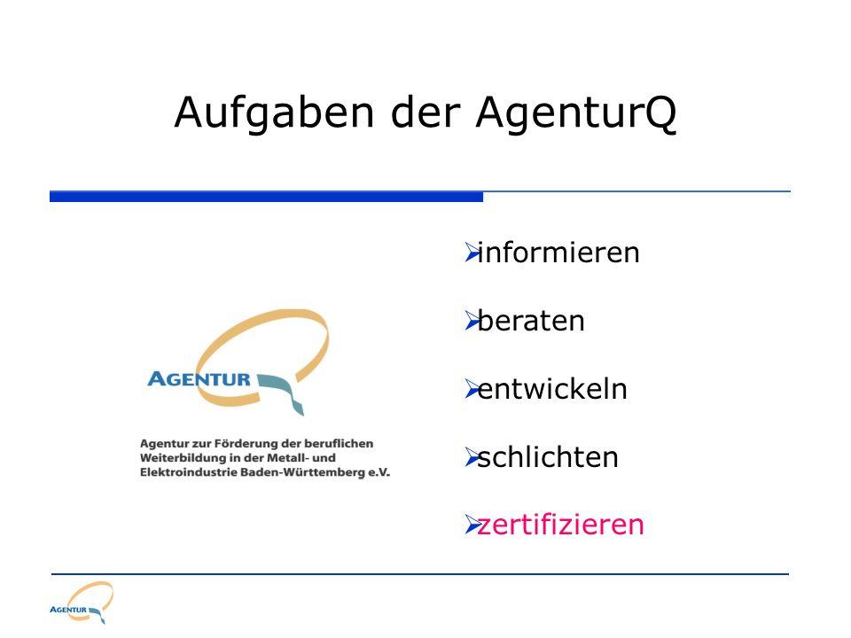Aufgaben der AgenturQ informieren beraten entwickeln schlichten