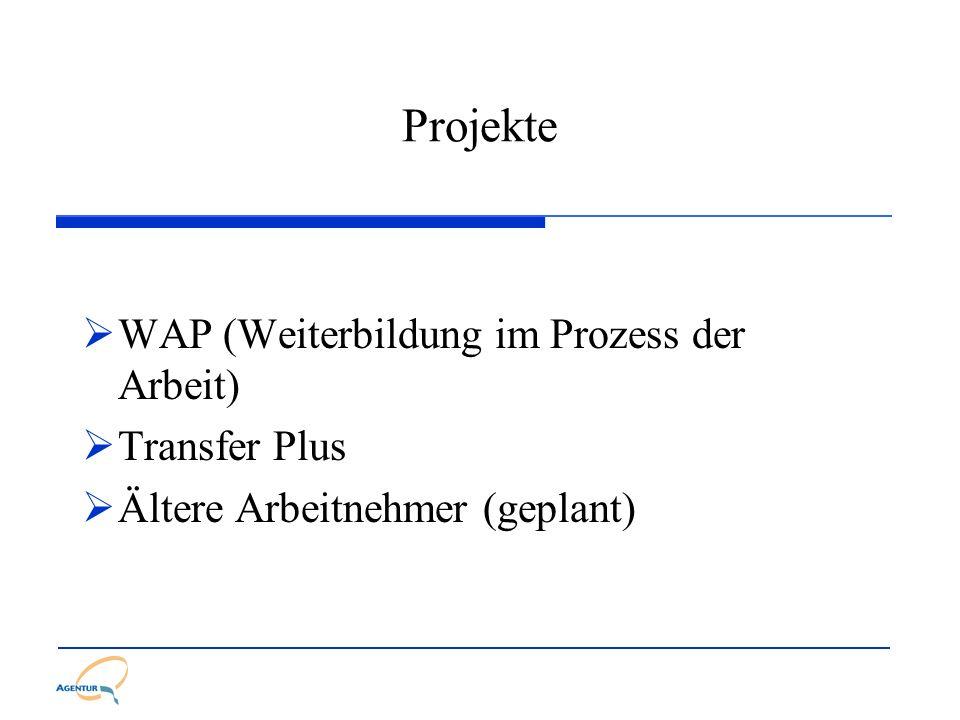 Projekte WAP (Weiterbildung im Prozess der Arbeit) Transfer Plus