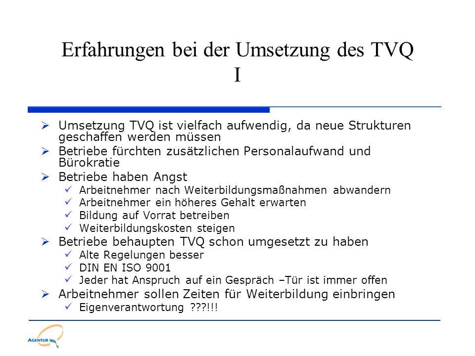 Erfahrungen bei der Umsetzung des TVQ I