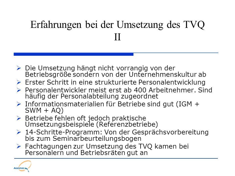 Erfahrungen bei der Umsetzung des TVQ II