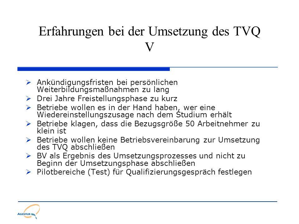Erfahrungen bei der Umsetzung des TVQ V