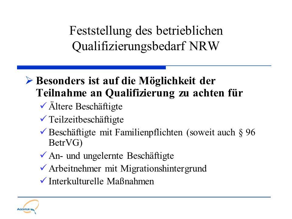 Feststellung des betrieblichen Qualifizierungsbedarf NRW