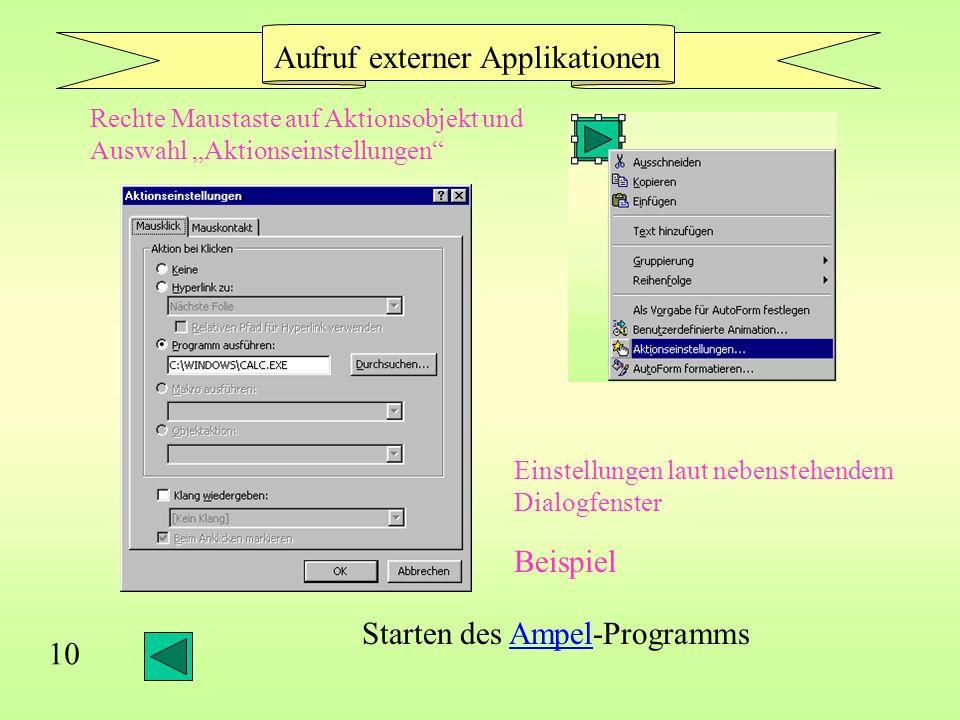 Aufruf externer Applikationen