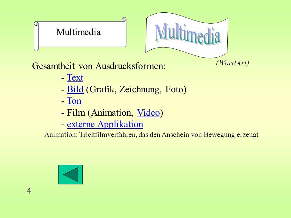 Multimedia Multimedia Gesamtheit von Ausdrucksformen: - Text