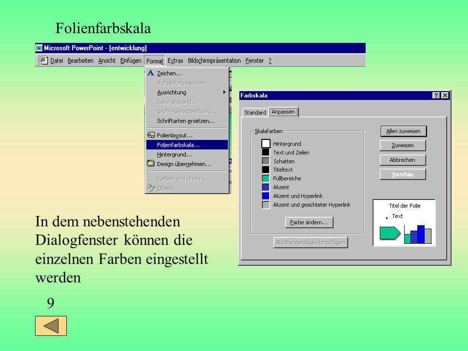 Folienfarbskala In dem nebenstehenden. Dialogfenster können die. einzelnen Farben eingestellt. werden.