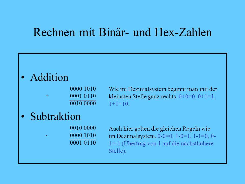Rechnen mit Binär- und Hex-Zahlen