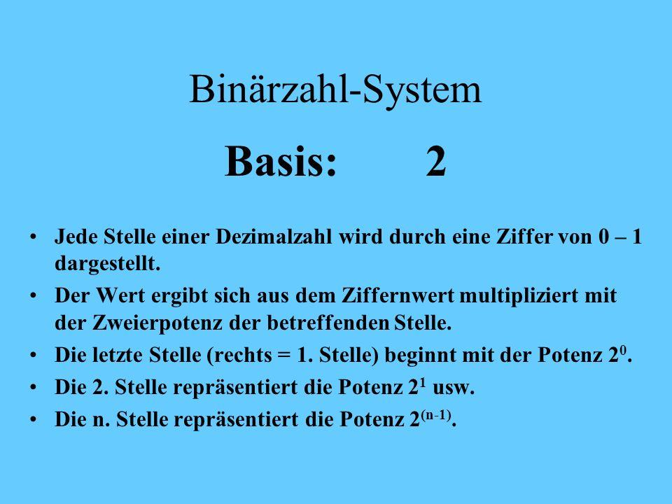 Basis: 2 Binärzahl-System
