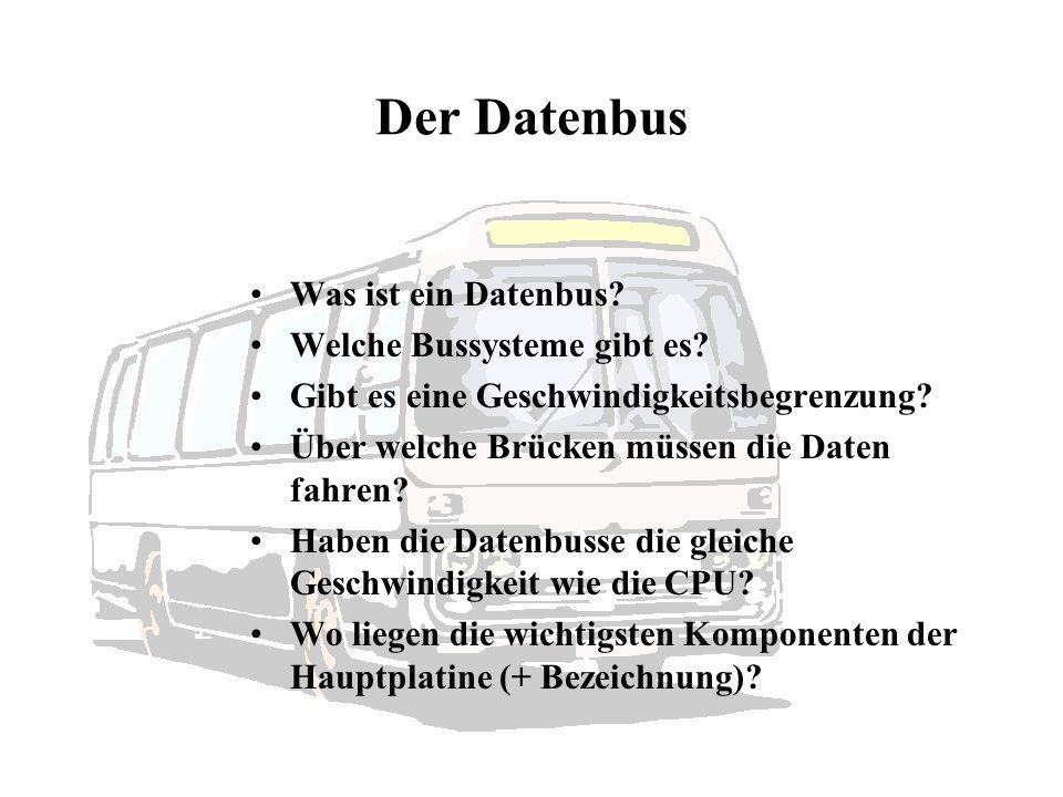 Der Datenbus Was ist ein Datenbus Welche Bussysteme gibt es