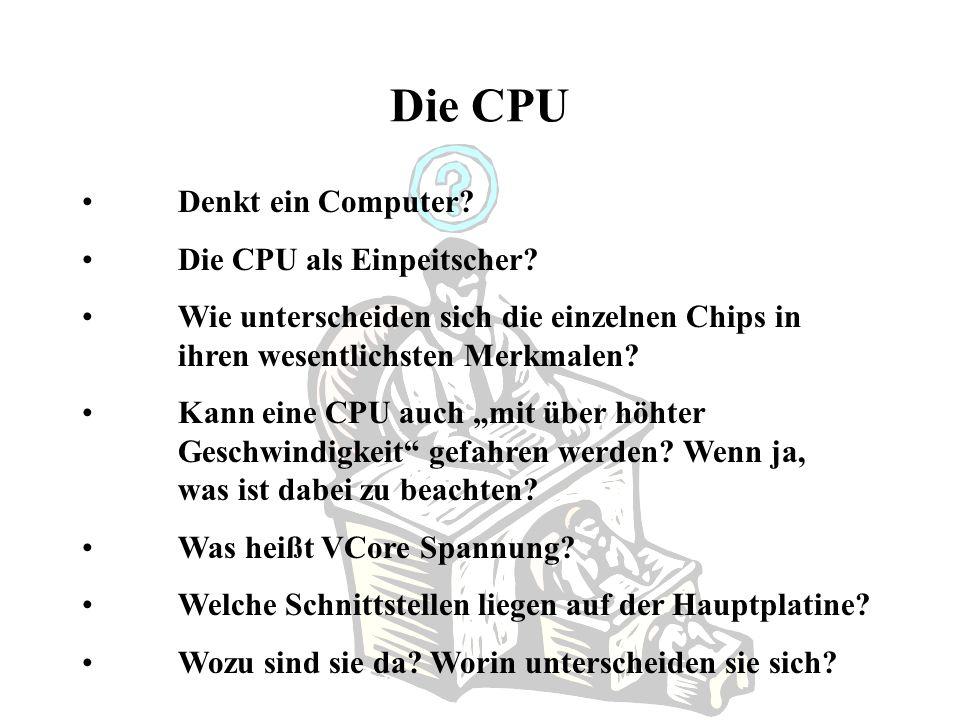Die CPU Denkt ein Computer Die CPU als Einpeitscher