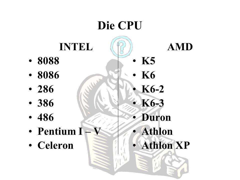 Die CPU INTEL 8088 8086 286 386 486 Pentium I – V Celeron AMD K5 K6