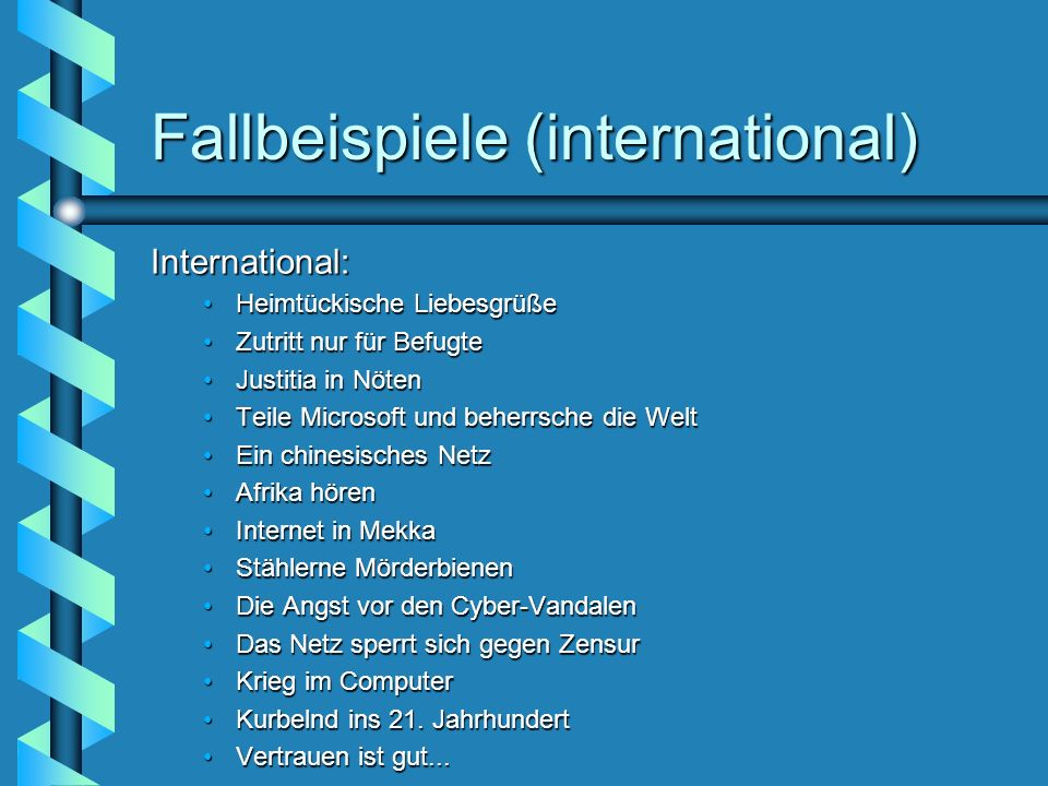 Fallbeispiele (international)