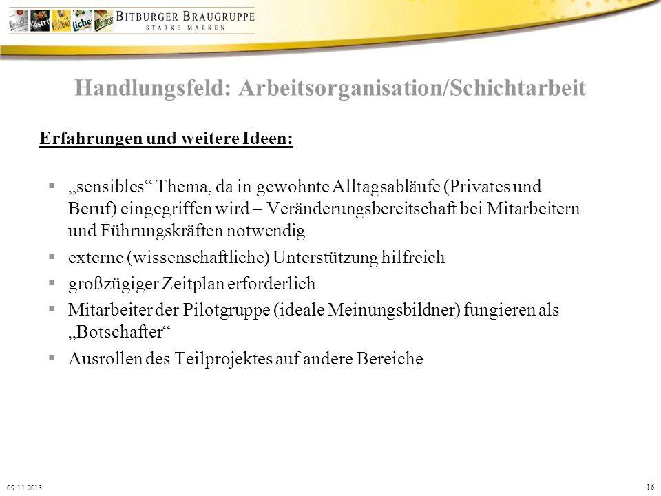Handlungsfeld: Arbeitsorganisation/Schichtarbeit