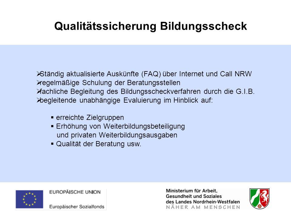 Qualitätssicherung Bildungsscheck