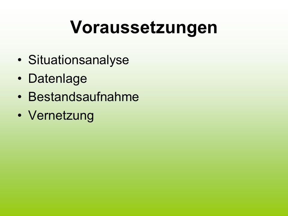 Voraussetzungen Situationsanalyse Datenlage Bestandsaufnahme