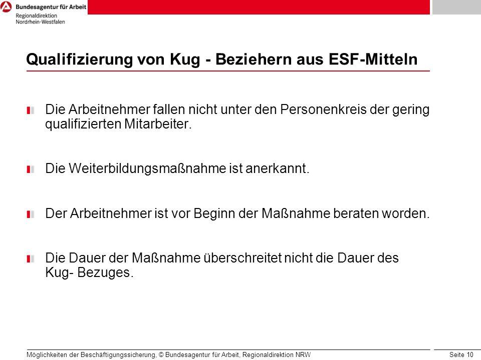 Qualifizierung von Kug - Beziehern aus ESF-Mitteln