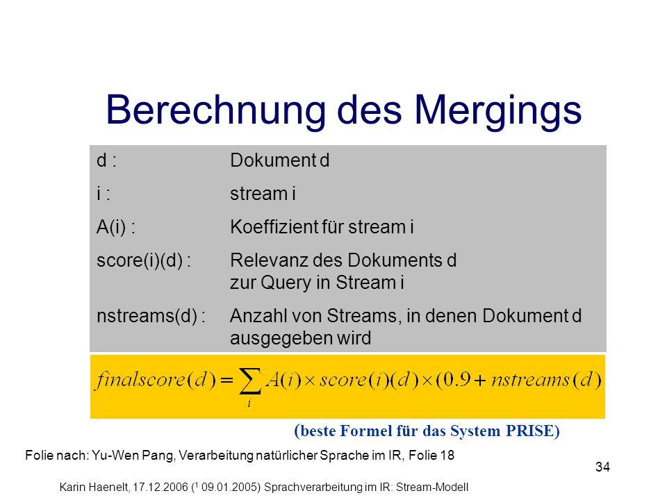 Berechnung des Mergings