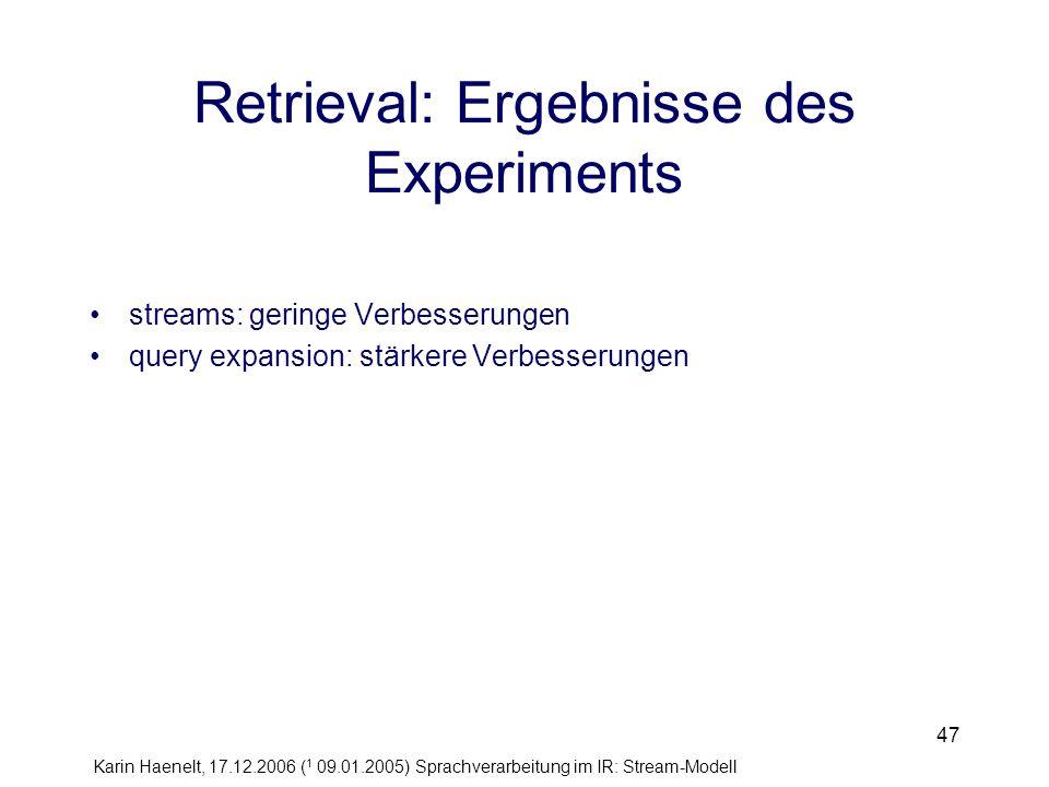 Retrieval: Ergebnisse des Experiments