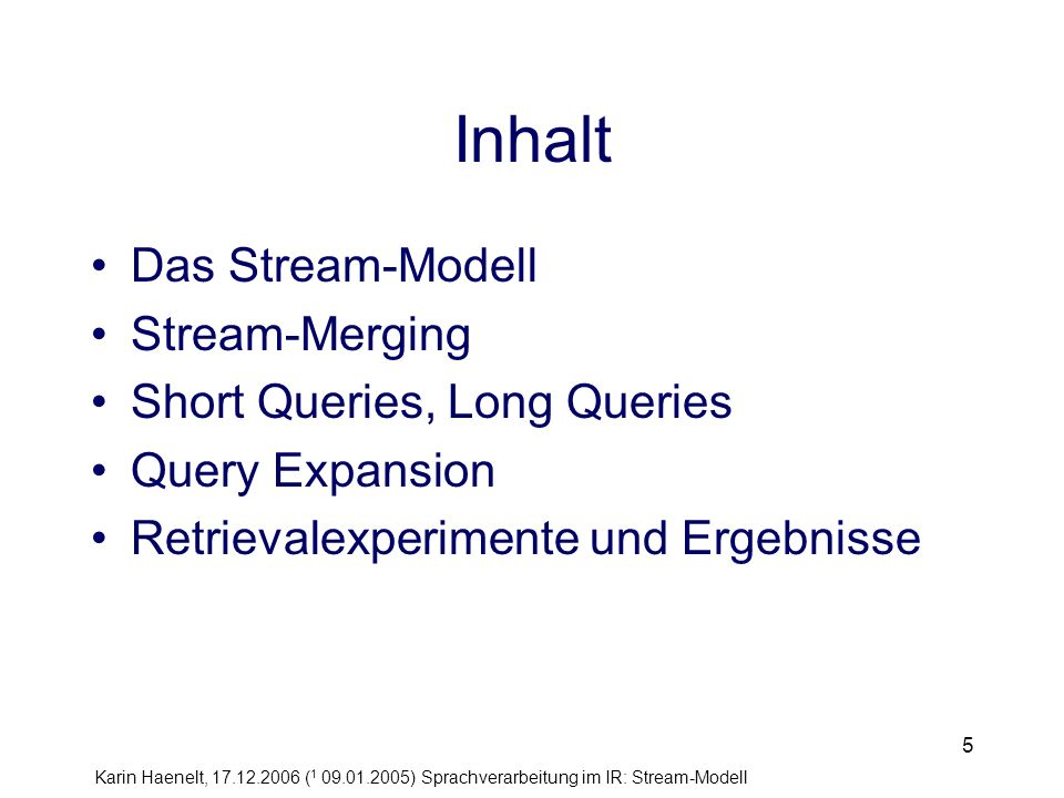 Inhalt Das Stream-Modell Stream-Merging Short Queries, Long Queries