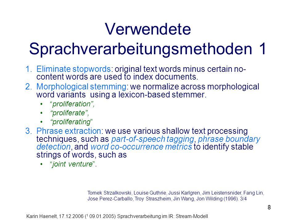 Verwendete Sprachverarbeitungsmethoden 1