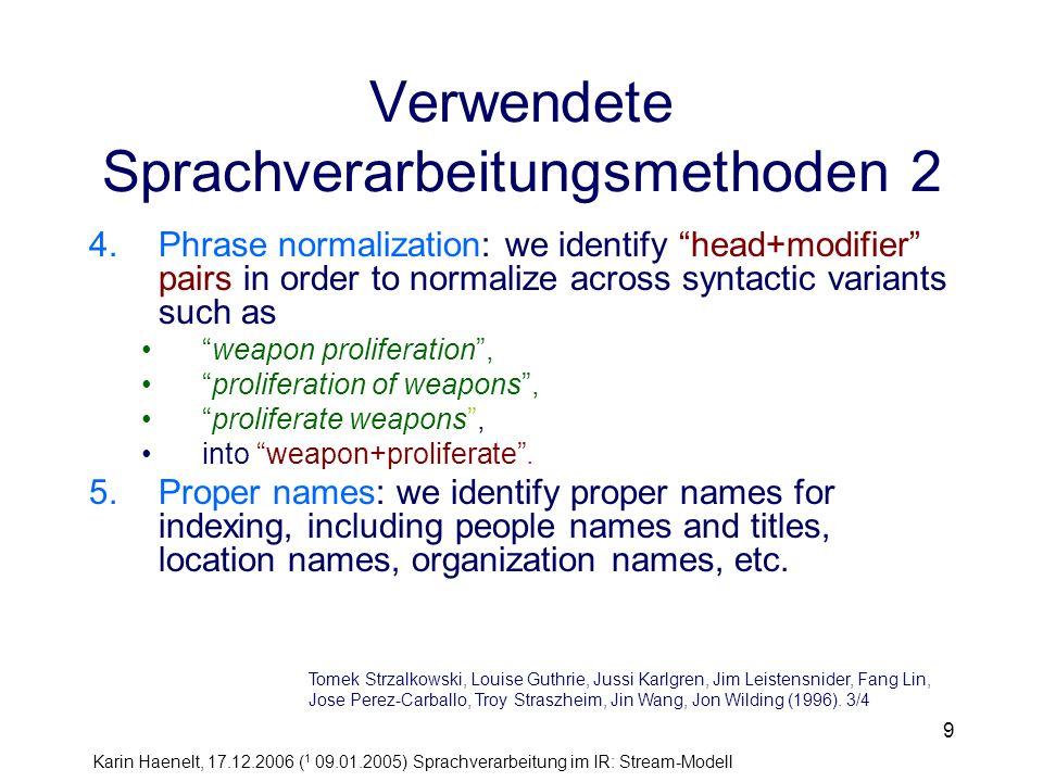 Verwendete Sprachverarbeitungsmethoden 2