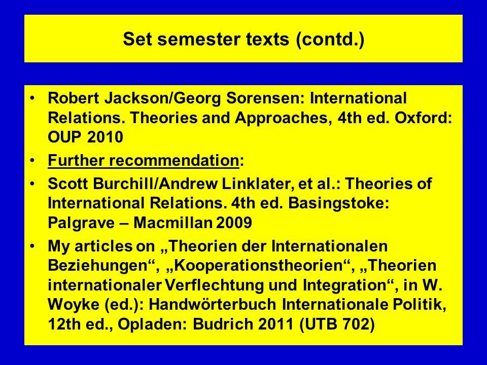 Set semester texts (contd.)