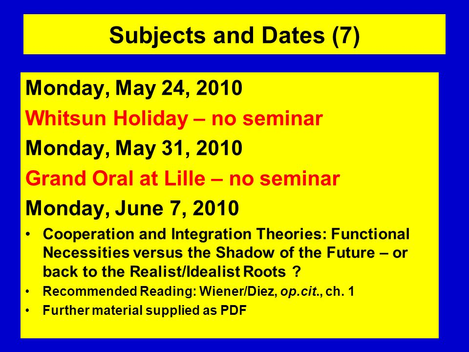 Subjects and Dates (7) Monday, May 24, 2010