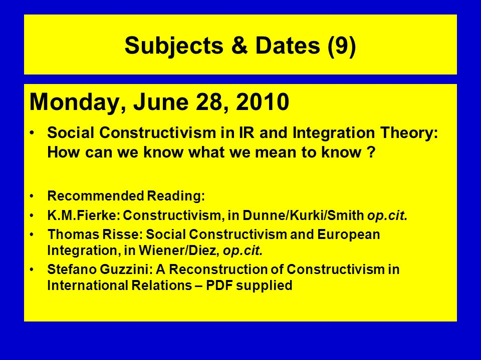 Subjects & Dates (9) Monday, June 28, 2010