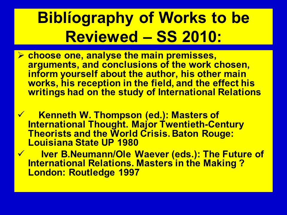 Biblíography of Works to be Reviewed – SS 2010: