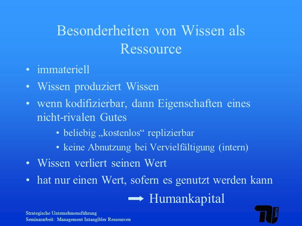 Besonderheiten von Wissen als Ressource