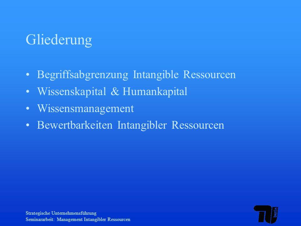 Gliederung Begriffsabgrenzung Intangible Ressourcen