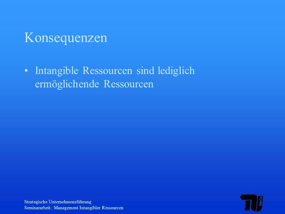 Konsequenzen Intangible Ressourcen sind lediglich ermöglichende Ressourcen. Strategische Unternehmensführung.