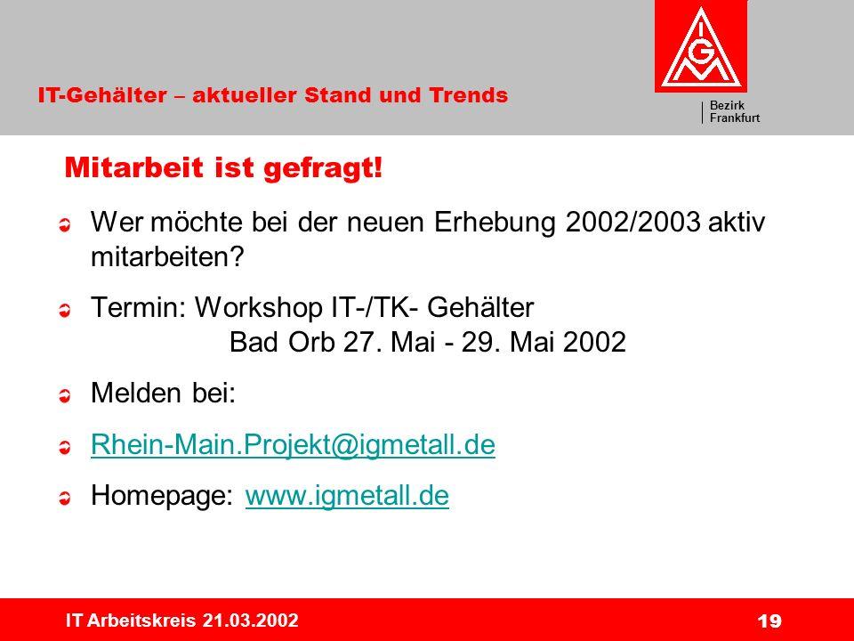 Wer möchte bei der neuen Erhebung 2002/2003 aktiv mitarbeiten